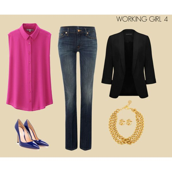 WORKING 4 by marisol-fernandez-zumba on Polyvore featuring polyvore fashion style Uniqlo Forever New 7 For All Mankind Gianvito Rossi Ben-Amun Susan Shaw