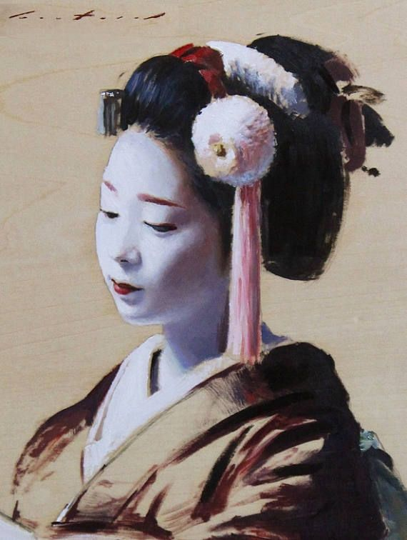 Fukutomo - olieverf op houten paneel 9 x 7 Dit is een olieverf schilderij van de Fukutomo, een maiko (leerling geisha) uit Kyoto, Japan. Al mijn kunstwerk is ondertekend, wordt geleverd met een certificaat van echtheid en veilig verzonden met behulp van Japan Post EMS met tracking.