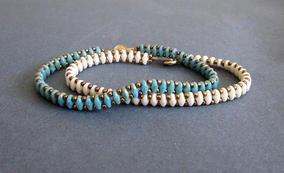 Bracelet set, beaded superduo, best friend bracelet, turquoise bracelet, ivory bracelet, boho bracelet, gift for her, christmas gift