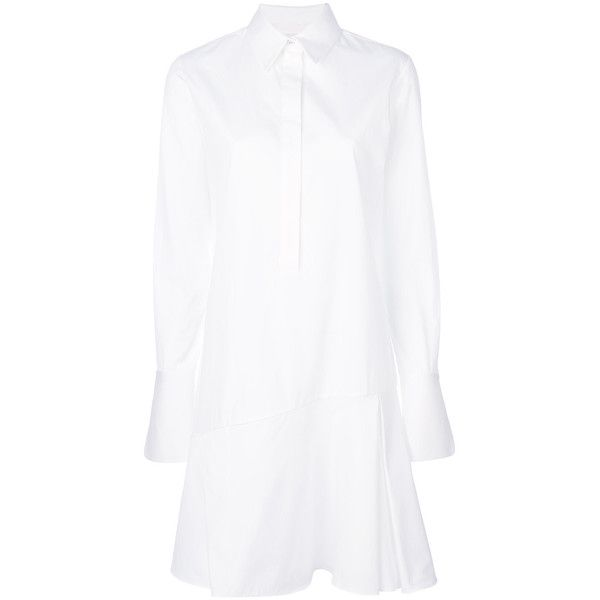 Victoria Victoria Beckham shirt dress (23,625 PHP) ❤ liked on Polyvore featuring dresses, white, t-shirt dresses, white day dress, long shirt dress, white cotton dress and white dresses