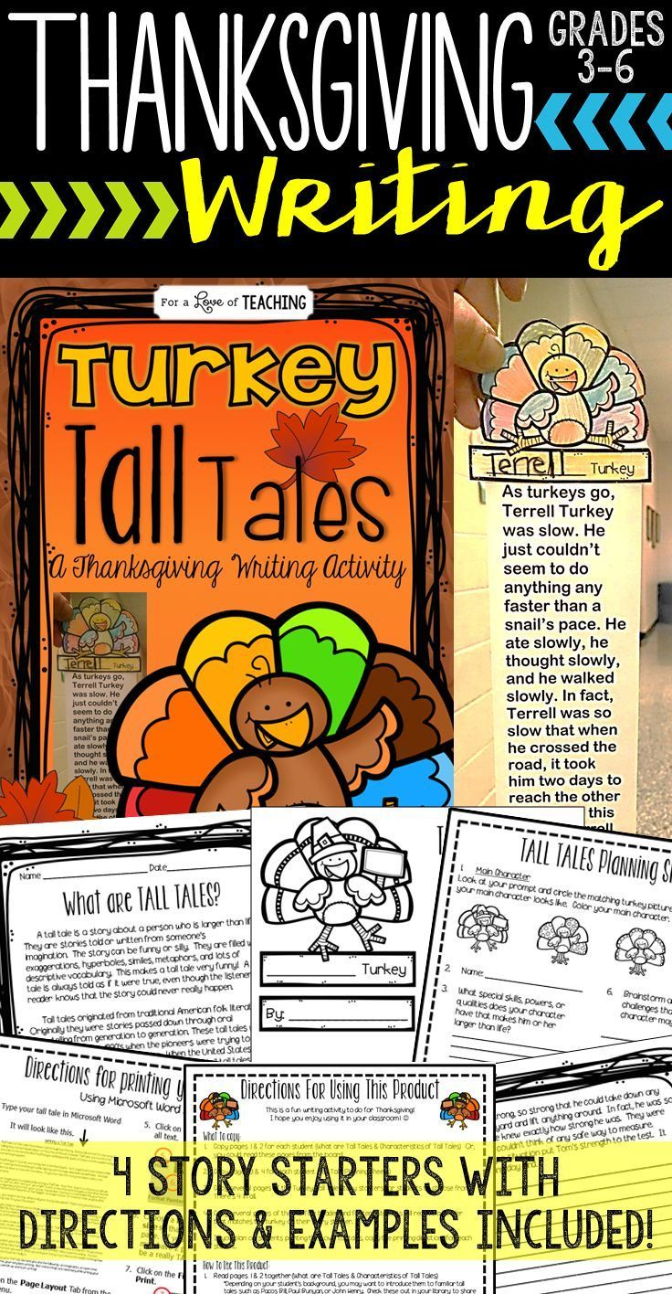 Turkey Tall Tales: Thanksgiving Writing Idea for Grade 3-6.  It makes a perfect November Bulletin Board!  Kids love this writing activity!