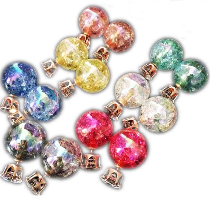Super Deal Brand Pearl Double Earrings balls Colorful Statement Zircon Channel Stud Crystal Earring Wedding Jewelry Women JS04