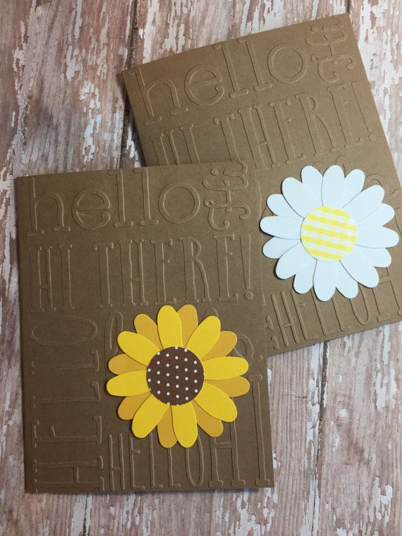 daisy note cards hello note cards blank note by PointingDogPaper