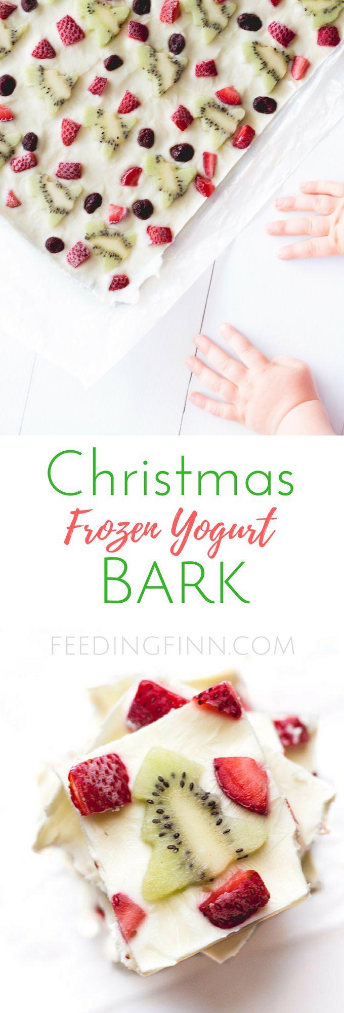 Christmas frozen yogurt bark. A healthy Christmas treat for kids.
