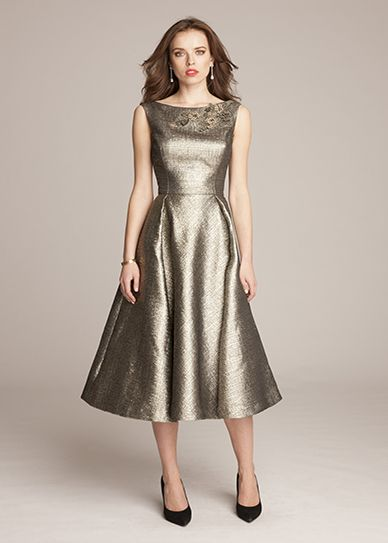 Fall Mother of the Bride Dresses | Metallic tea-length dress by Teri Jon