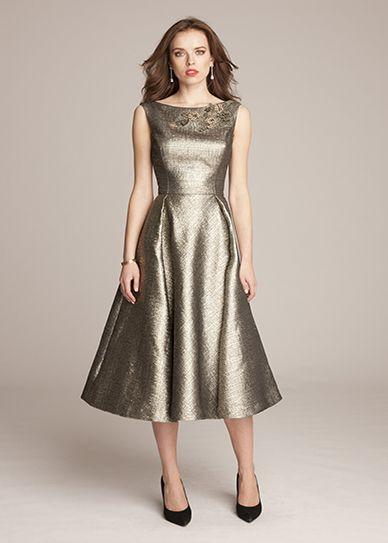 Fall Mother of the Bride Dresses   Metallic tea-length dress by Teri Jon