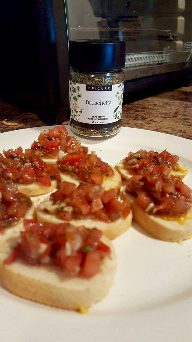 Quick and easy bruschetta made by a very happy customer of mine. https://kayhamel.epicure.com/en #minimomkay #bruschetta #epicure