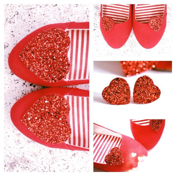Red Shoe clips Sets Glitter Hearts Red Glitter von PollyMcGeary, €80.00