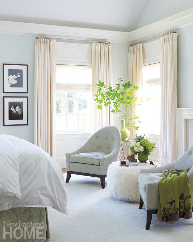 In The Master Bedroom Chairs Upholstered In An Iridescent Fabric From Highland Court Flank An