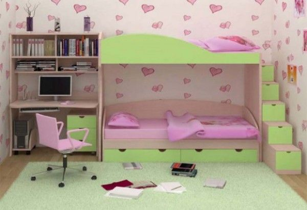Beautiful design idea for little girl\'s room in pink and green