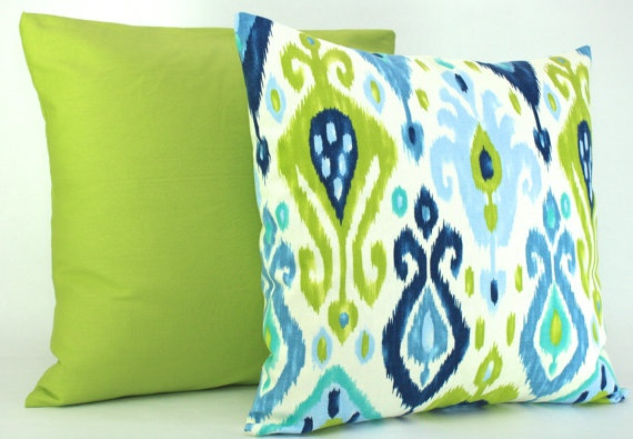 Lime Green And Blue Throw Pillows : Lime Green and Blue IKAT Decorative Throw Pillow Covers 20 x 20 inches