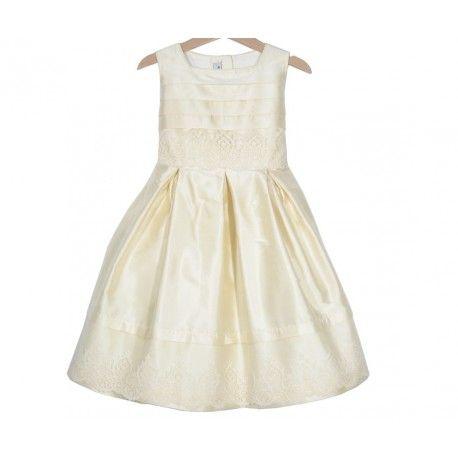 www.pepaonline.com Espectacular! Vestido de seda beige con puntilla de la Marca Sprint en Outlet de Ceremonia. Descubre las mejores oportunidades de moda infantil online