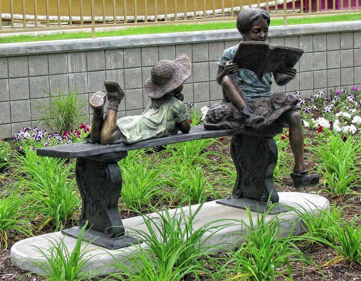 Bronze Sculpture Of A Boy Reading On Bench With His Dog Maxey And Me Garden Statuesgarden Sculpturessculpture