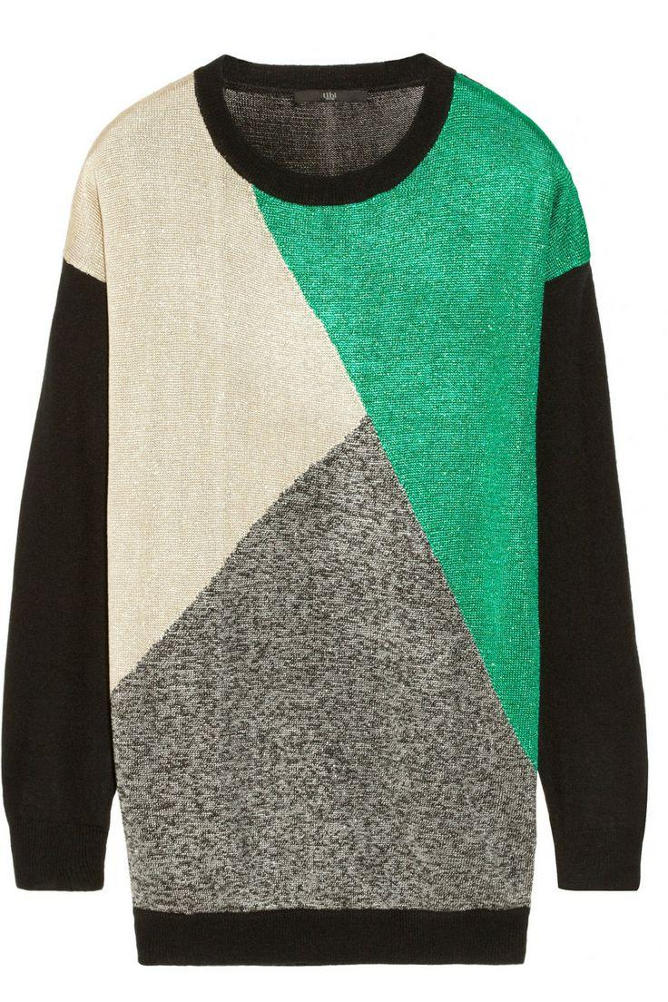 Tibi Intarsia metallic knitted sweater NET-A-PORTER.COM