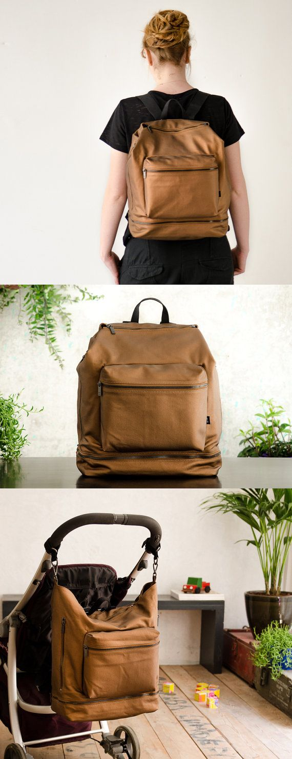 backpack diaper bag in bronze // oneduo on etsy