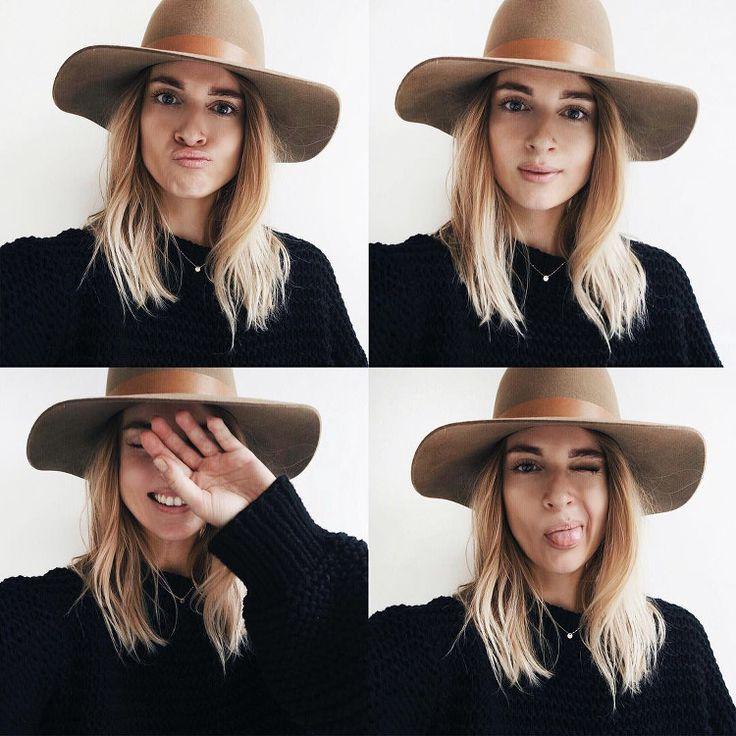 Cheveux blonds dorés + chapeau cappucino = le bon mix (instagram Mija)