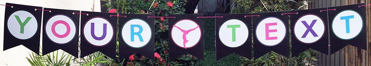 Gymnastics Birthday Party Banner | Editable DIY Template