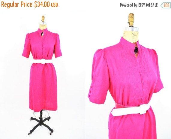1980s dress vintage 80s hot pink puff sleeve by StorylandVintage