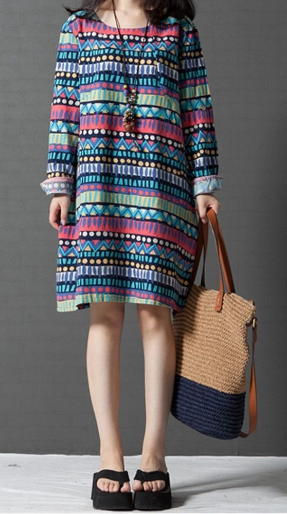 Women loose fit over plus size ethnic color dress long sleeve tunic fashion chic #Unbranded #dress #Casual