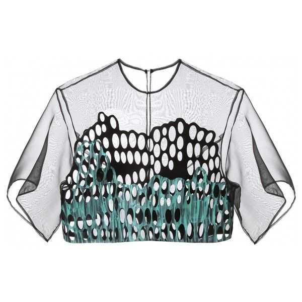 Atelier Kikala - Mint Top - Tops (€370) ❤ liked on Polyvore featuring tops, crop top, shirts, sheer top, transparent shirt, transparent tops and sheer shirt