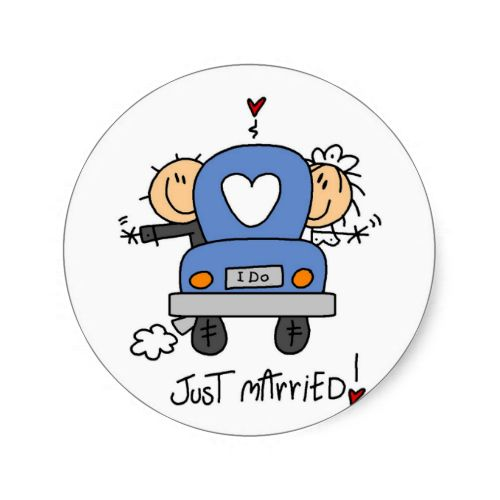 Just Married Bride and Groom T-shirts and Gifts Round Stickers