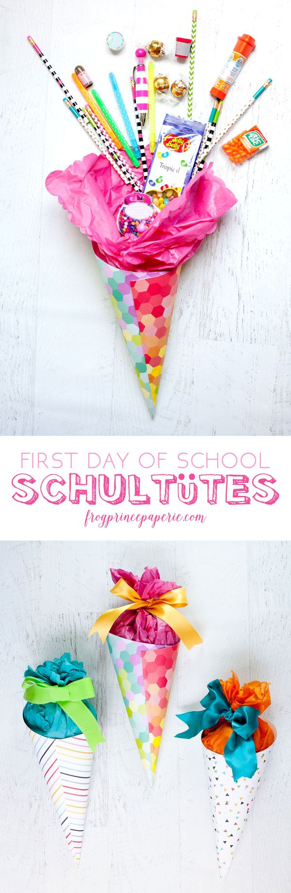 Easy DIY for first day of school treat in the German tradition--a Schultüte made in miniature filled with fun back to school supplies