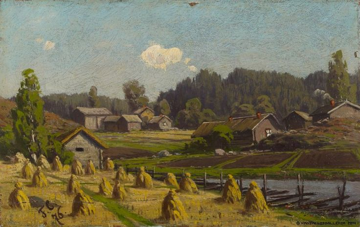 Fanny Churberg (1845-1892) Ruiskuhilaita / Shocks of rye 1876 - Finland