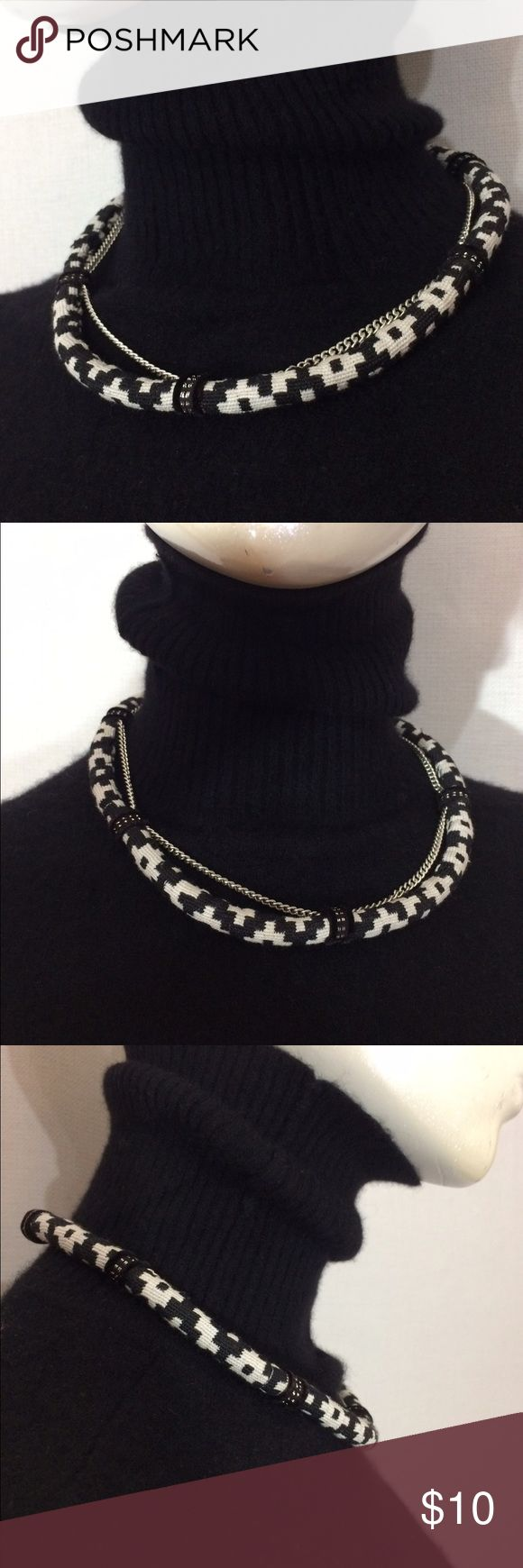 Southwestern Fabric black white Aztec Necklace OS One size Jewelry Necklaces