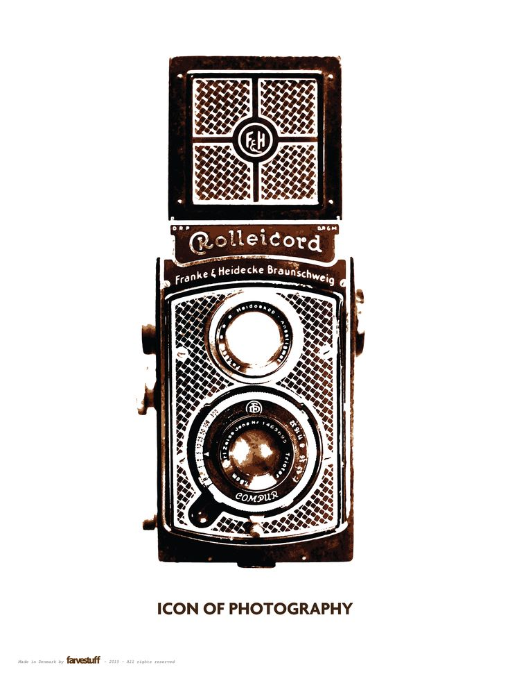 """""""ICON OF PHOTOGRAPHY - The Rolleicord Art Deco"""" - 60x80cm poster by Farvestuff, Denmark"""