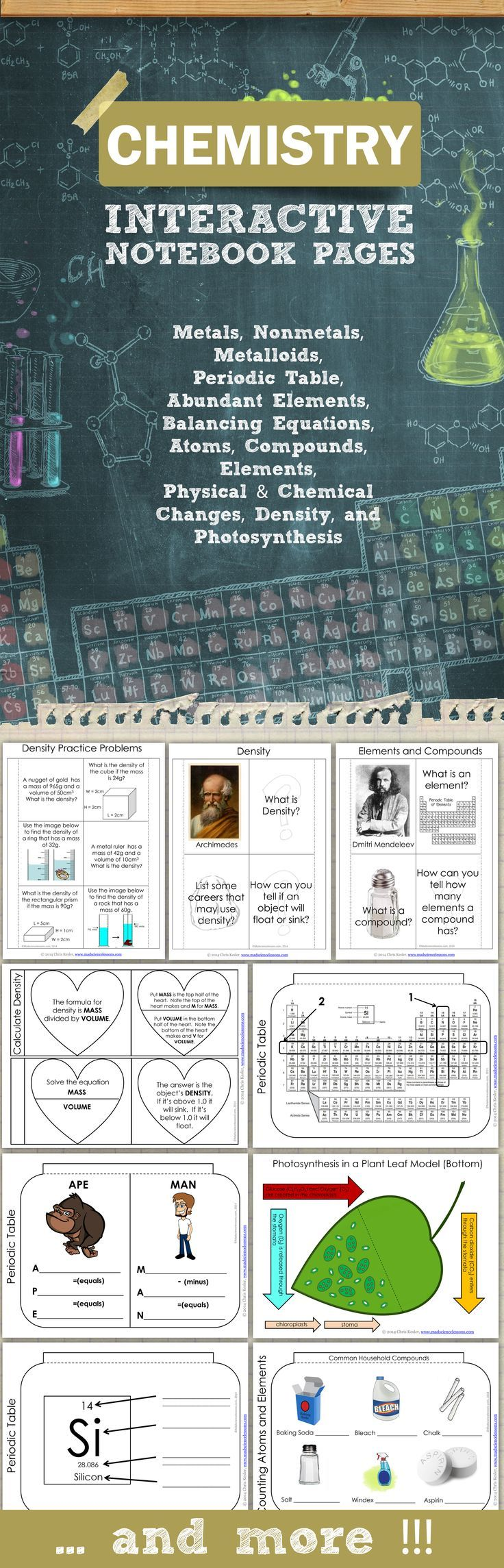 Science Interactive Templates for Middle School Chemistry  - covers metals, nonmetals, and metalloids, periodic table, protons, neutrons, electrons, balancing equations, atoms, physical and chemical changes, and more.