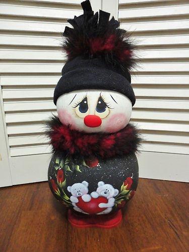 "Handpainted Primitive Snowman Valentine Doll Gourd ""Sweetheart""   eBay"