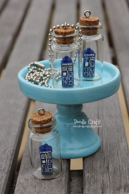 Doodlecraft: Doctor Who Tardis in a Bottle Necklace!  http://www.doodlecraftblog.com/2013/11/doctor-who-tardis-in-bottle-necklace.html