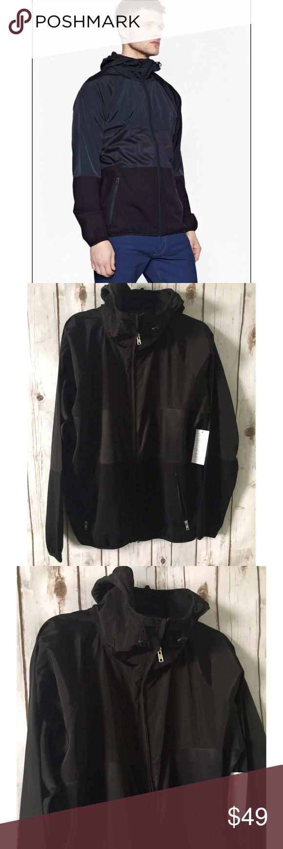 NWT men's French connection jacket size medium NWT men's black French connection mixed nylon hooded jacket size medium. Really nice ! High neckline with toggles. Length is 71 cm. French Connection Jackets & Coats