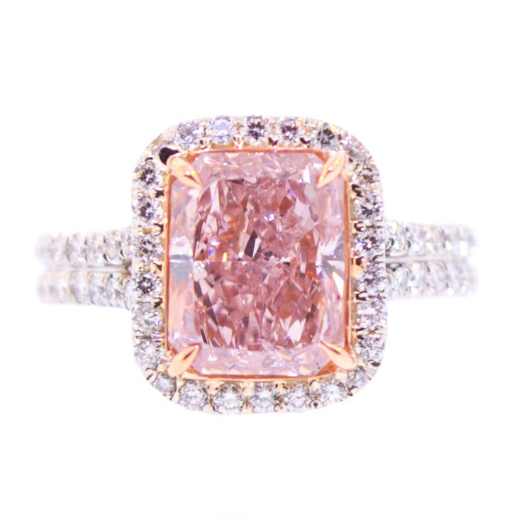 3 Carat Natural Pink Diamond Ring | From a unique collection of vintage solitaire rings at https://www.1stdibs.com/jewelry/rings/solitaire-rings/