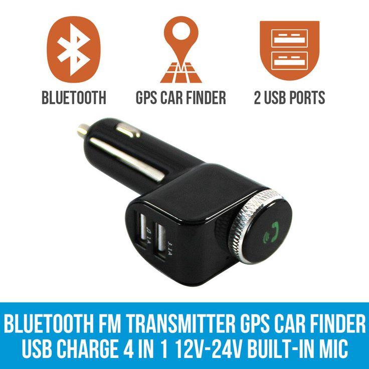 Bluetooth FM Transmitter GPS Car Finder MP3 USB Charge 4 in 1 12V-24V Built-in Mic