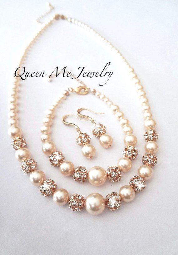 Giallo oro perle Parure di perle Swarovski e cristalli 3 | Etsy ...
