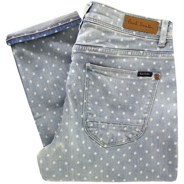 Paul by Paul Smith F247 Blue Polka Dot Cropped Jeans ($210) found on Polyvore