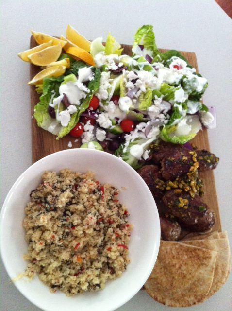 Lamb Kofta With Couscous And Greek Salad   Jamie Oliver 15mins
