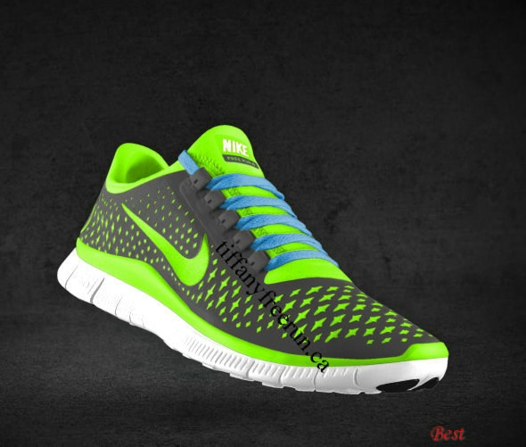Cheapest Mens Nike Free 3.0 V4 Dark Grey Electric Green Wolf Grey Filled  Blue Lace Shoes