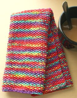 This is a great idea! I love knitted dishcloths, so why not a dish towel? Gorgeous colors in this yarn.