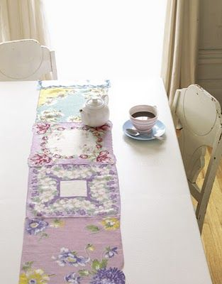 pretty vintage hankies sewn together for a table runner
