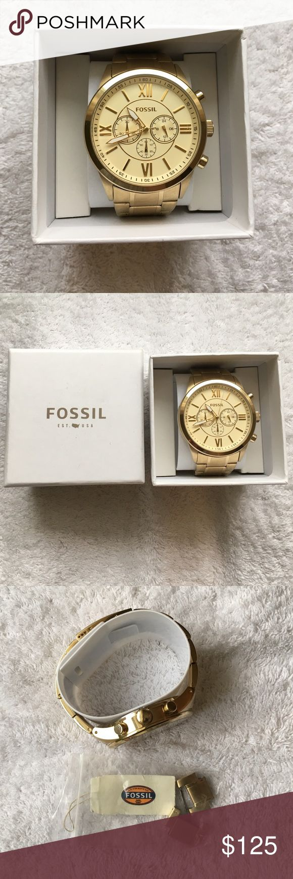 NWT Men's Fossil watch Brand New Fossil BQ1128 Gold Tone Stainless Steel Chronograph Men's Watch Fossil Accessories Watches