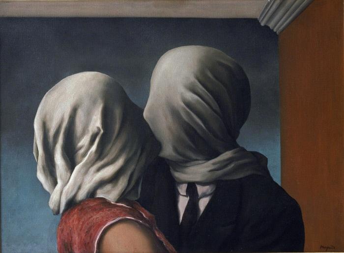 FART16197    Les amants (The Lovers). Peinture de Renee Magritte (1898-1967), huile sur toile, 1928. Art belge, 20e siecle, surrealisme. Museum of Modern Art, New York (USA). ©FineArtImages/Leemage ©ADAGP (Tel: + 33 01 43 59 09 79) MONDADORI PORTFOLIO/LEEMAGE