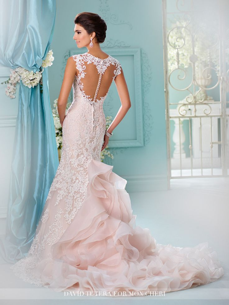 David Tutera - Tulle and organza over satin fit and flare gown with hand-beaded re-embroidered Alencon lace appliqués, lace cap sleeves, Queen Anne neckline, lace appliqué illusion heart shaped back b