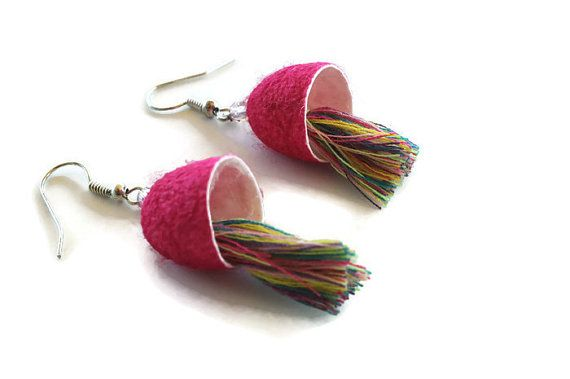 Silk cocoon earrings, pink statement earrings, tassel earrings, boho earrings,silk earrings, dangle earrings, Christmas gifts