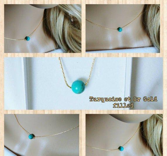 """Tiny Turquoise Bead Gold Filled Chaîne Collier Tour de Cou 16/"""" Cadeau Pour Elle Bleu"""
