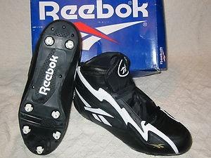 New! Reebok NFL FEROCIOUS Size 9.5 Mid Black/White Mens FootBall Cleats