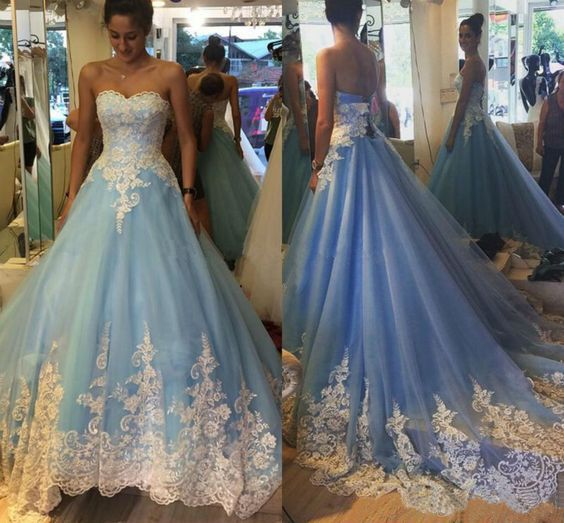 Cinderella Light Blue Prom Dress ,Sweetheart Prom Dress,Prom Ball Gowns with Chapel Train,Appliques Lace Prom Dress,Ball Gown Wedding Dress,Party Gowns,Evening Dress ,Quinceanera Dress