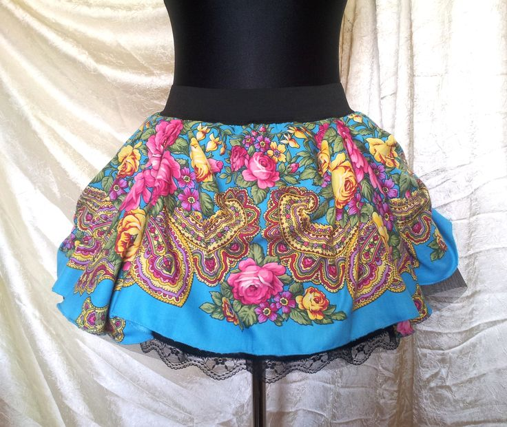 Spring folk colours! Fabolous slavic skirt for adult (or girls from about 8 years – depends on sizes). The skirt is lined with gathered tulle and lace sewn. Whole is on a wide rubber.