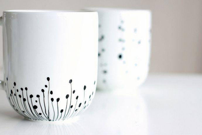 How to Decorate a Coffee Mug Using a Porcelain Marker  http://craft.tutsplus.com/tutorials/decorations/how-to-decorate-a-coffee-mug-using-a-porcelain-marker/